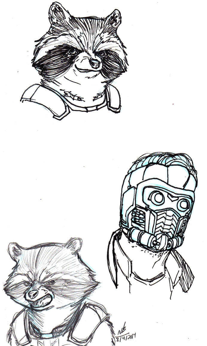 Star Lord And Rocket Raccoon By Timothygreenii On Deviantart: Rocket Raccoon And Star-Lord Drawings By ConstantScribbles