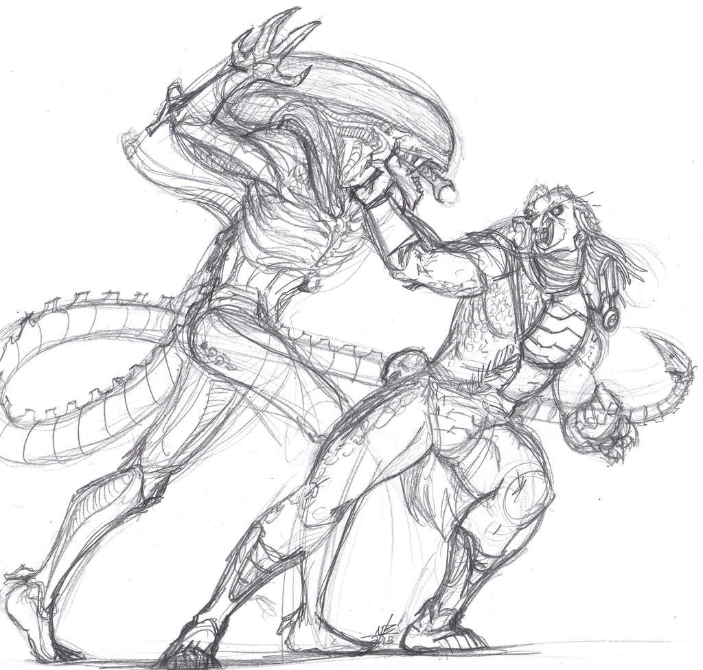 Alien vs predator sketch by constantscribbles on deviantart