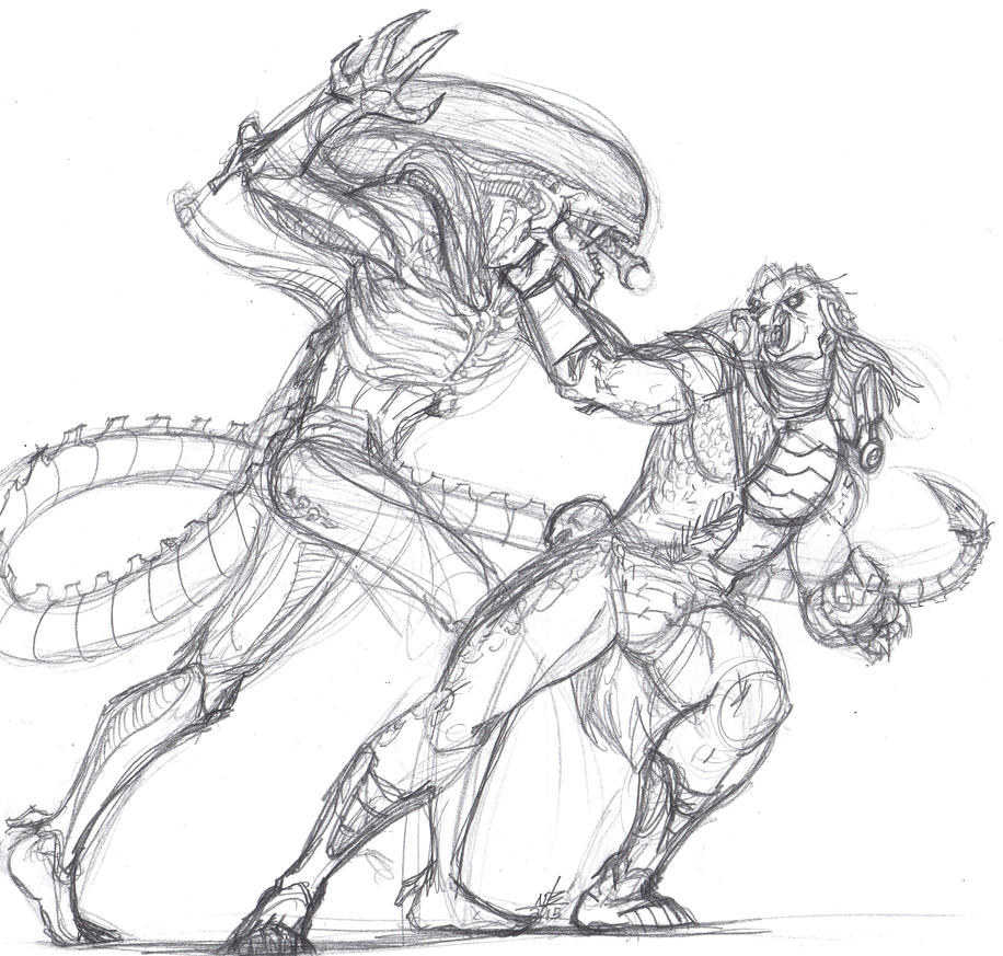 alien vs predator sketch by constantscribbles on deviantart