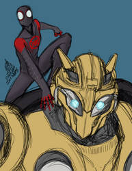 Warmup Bumblebee and Miles 1-1-2019 by ConstantScribbles