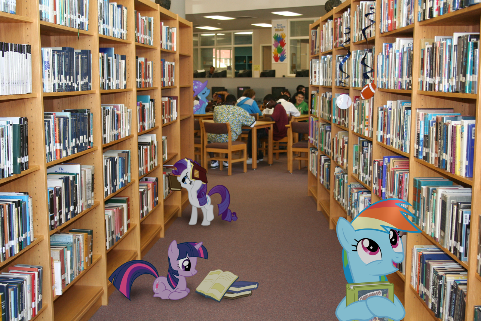 Ponies in a Library by Bryal