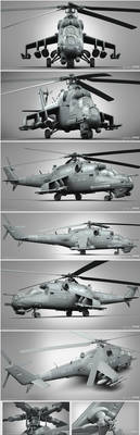Mi-35P Clay render compilation