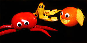 Sea animals made out of fruit
