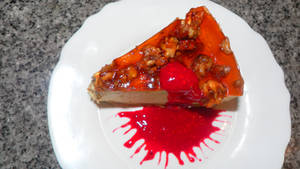 Pumpkin cheesecake with caramalised walnuts