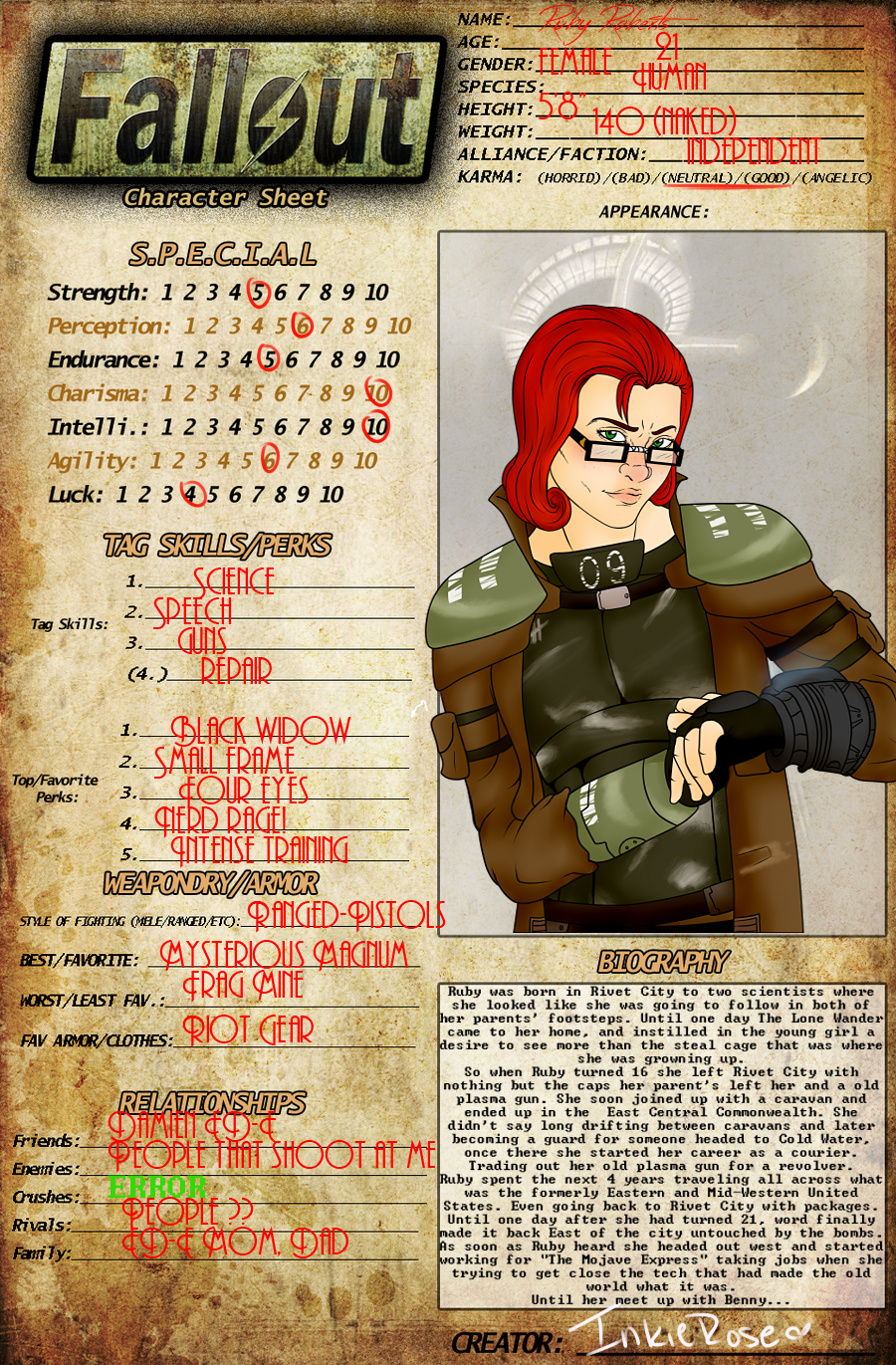 Fallout OC - Ruby Roberts by InkieRose