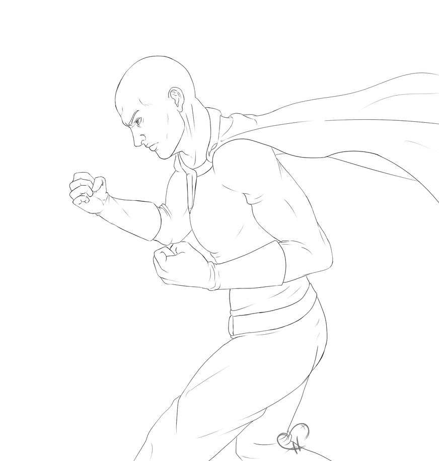 Saitama lineart - One Punch Man by InkieRose