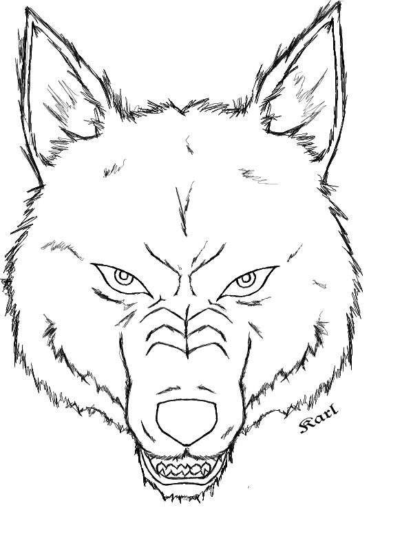 wolf head outline by dark rikimaru