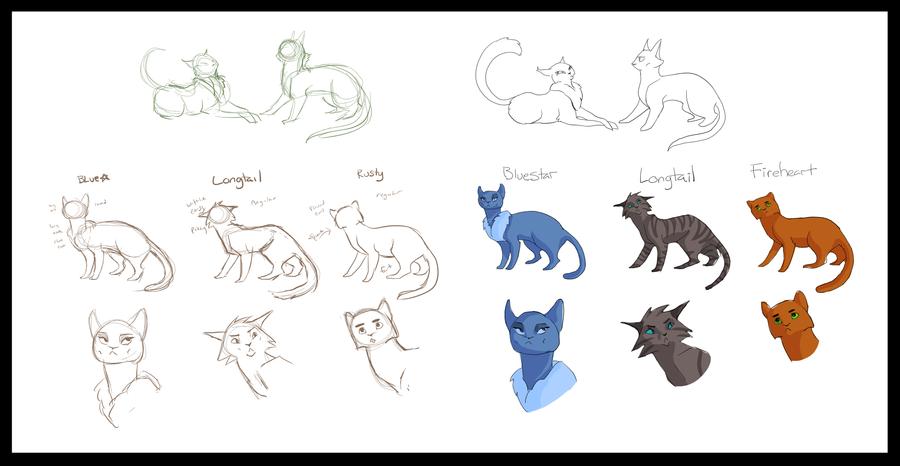 Character Design Challenge Concept : Warrior cats character design concepts by luckyveda on