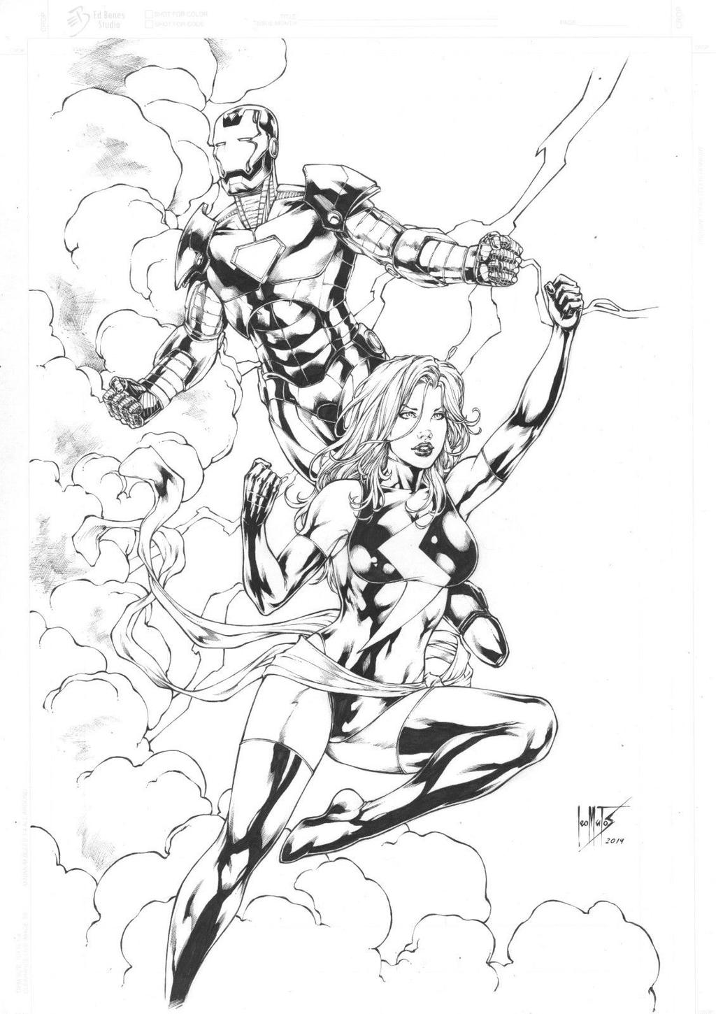 Line Art Marvel : Iron man e miss marvel by leomatos on deviantart