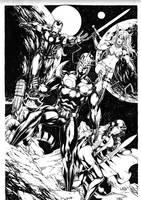 Nova, Gamora, Rocket, Iron Man and Angela