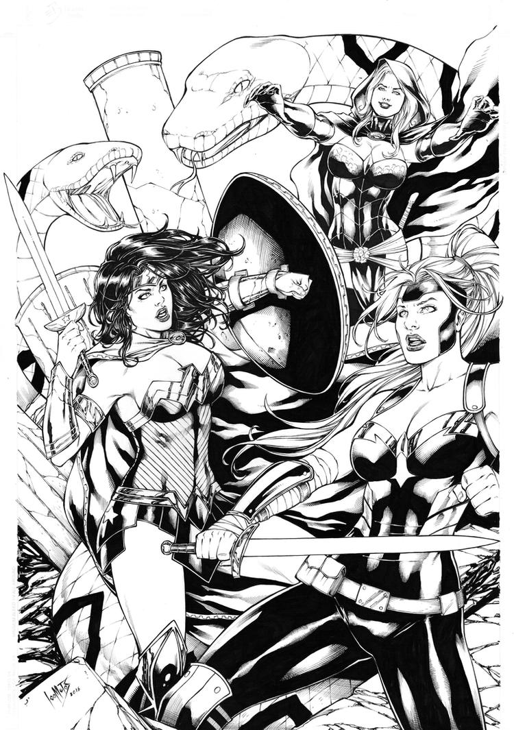 Wonder Woman and Artemis vs Circe by Leomatos2014