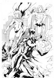 Batgirl Supergirl and Powergirl by Leomatos2014