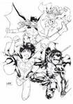 Superboy Robin Batgirl and Supergirl