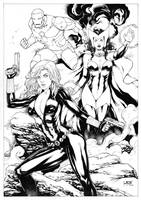 BlackWidow Scarlet witch and Iron Man by Leomatos2014