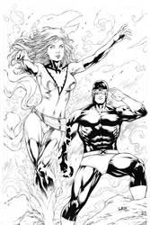 Phoenix and Cyclops by Leomatos2014