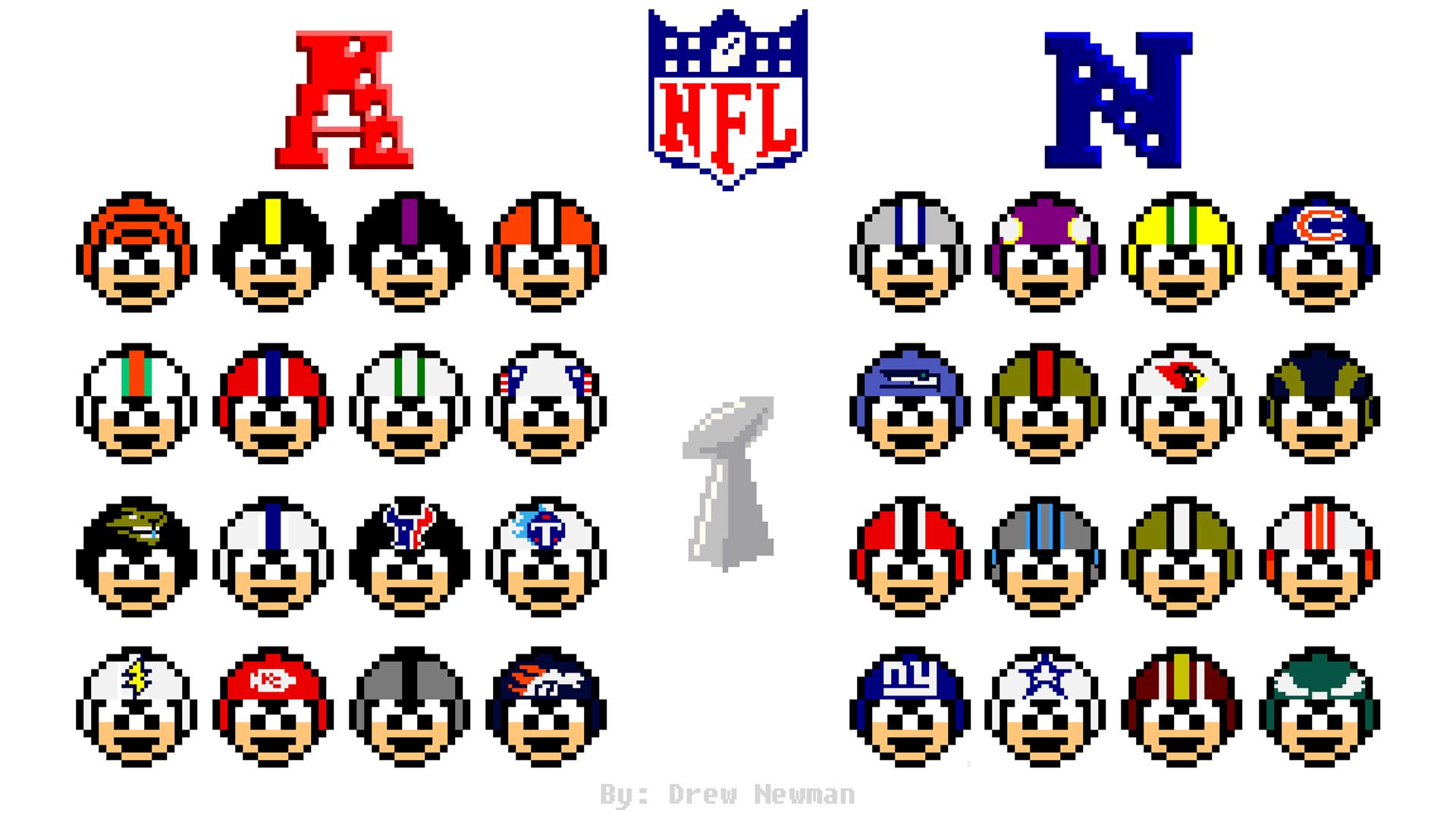 NFL Man:  32 Megaman NFL Helmets by Cerberust
