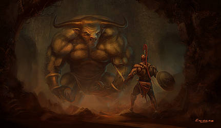 Theseus and the Minotaur by kolokas