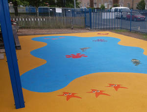 Play area flooring and marking installation