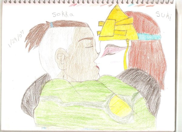 Sokka and Suki kissing by Sokka-x-Suki