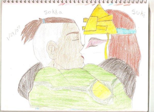 Sokka and Suki kissing by Sokka-x-Suki
