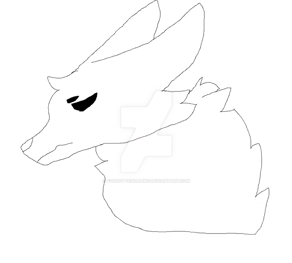 Base) Sad cat/wolf/dog base [MSPAINT FRIENDLY] by ForgottenDraws on