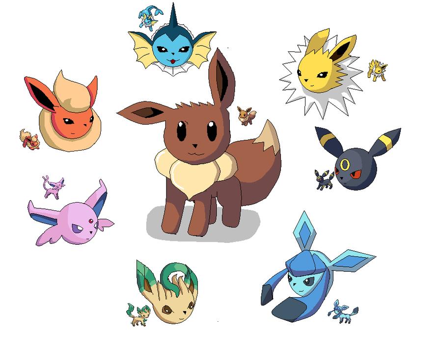 Eevee evolutions-Paint by Samus-Zero-Suit