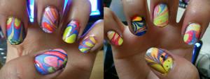water marbled nails by yushi25