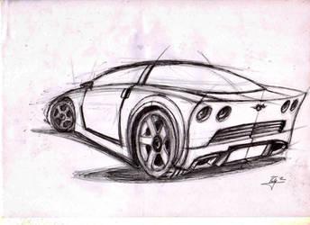 Corvette Sketch - Drawing Ballpoint pen