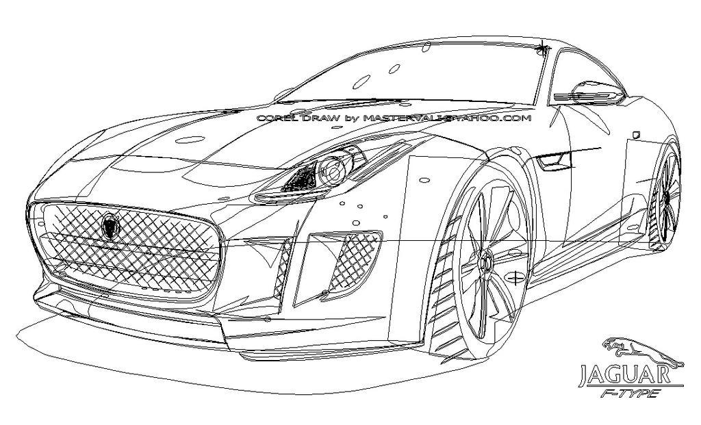 Line Drawing Jaguar : Jaguar f type vector outline mastervali by