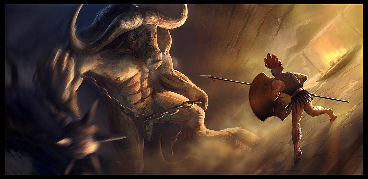 Seres mitologicos griegos Minotaur_by_Gaius31duke