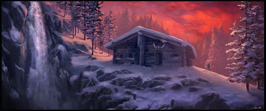 Winter Cabin By Gaius31duke