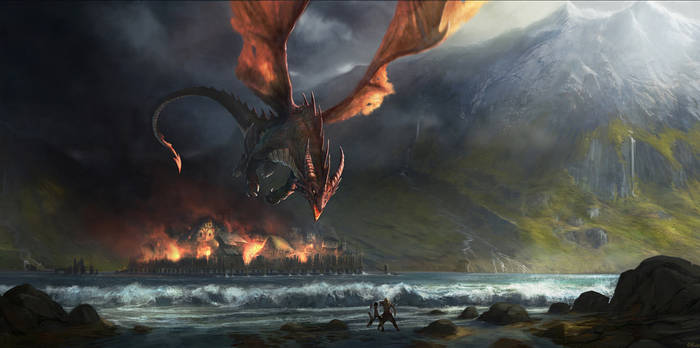 Smaug destroys Esgaroth by Gaius31duke