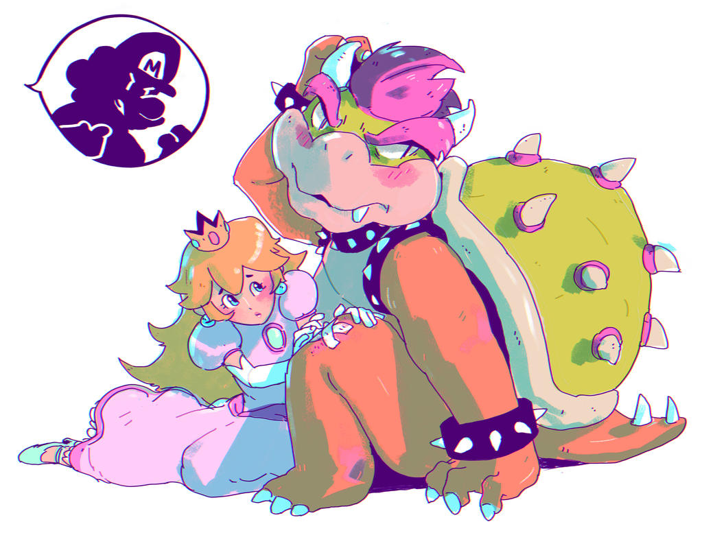 Peach and Bowser by MEEKIS on DeviantArt