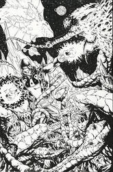 JACK OF HEARTS vs. THE BROOD - inks - 11x17 by RONJOSEPH-ARTIST