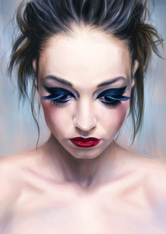 Blue Eyes, Red lips by weiliwonka
