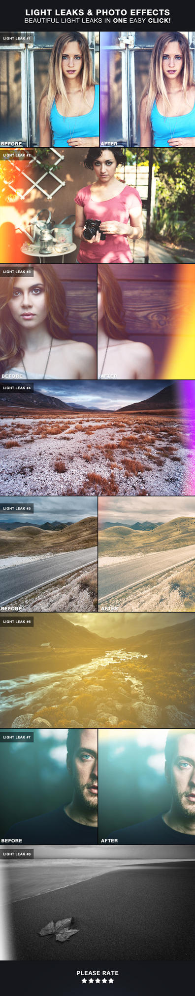 Light Leaks | Photoshop Actions by frozencolor