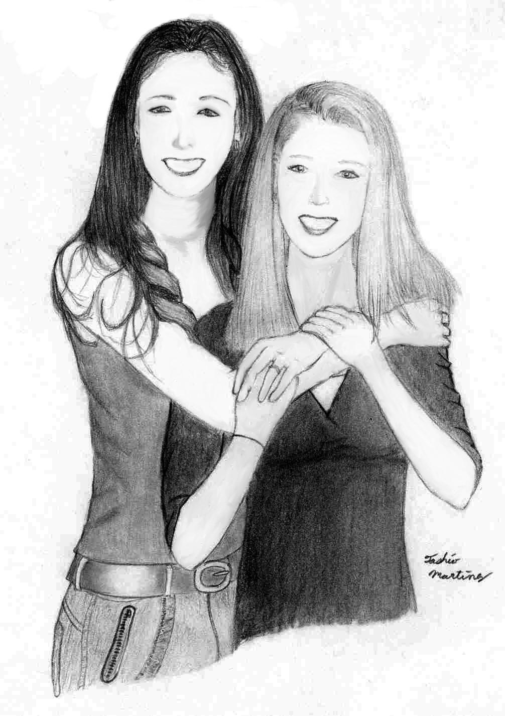 best friends always hug by tashio190 traditional art drawings people    Two Best Friends Hugging Drawing