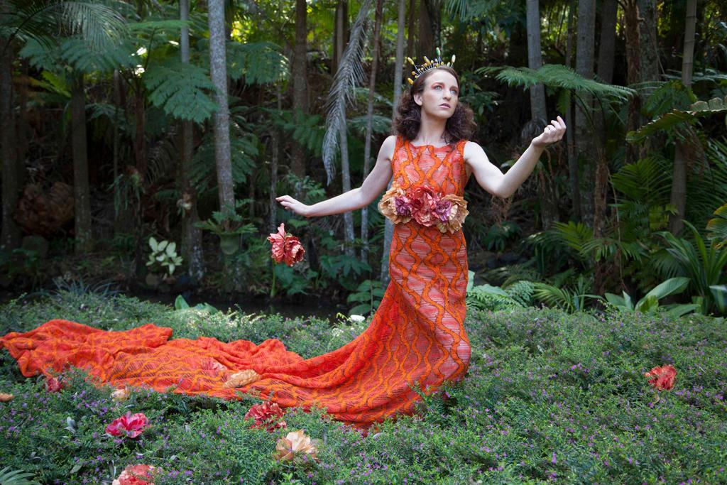 Orange Dress female model stock by melinahollway