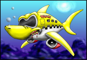 Shark taxi cab plane thing by Muddy-The-Fox