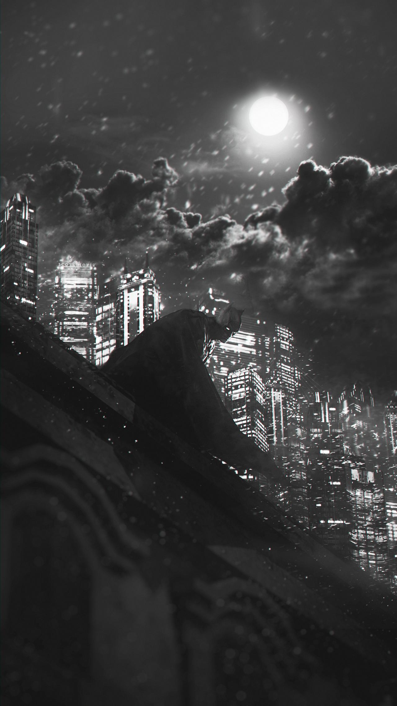 Batman - Guardian of Gotham (b/w) by Scotchlover