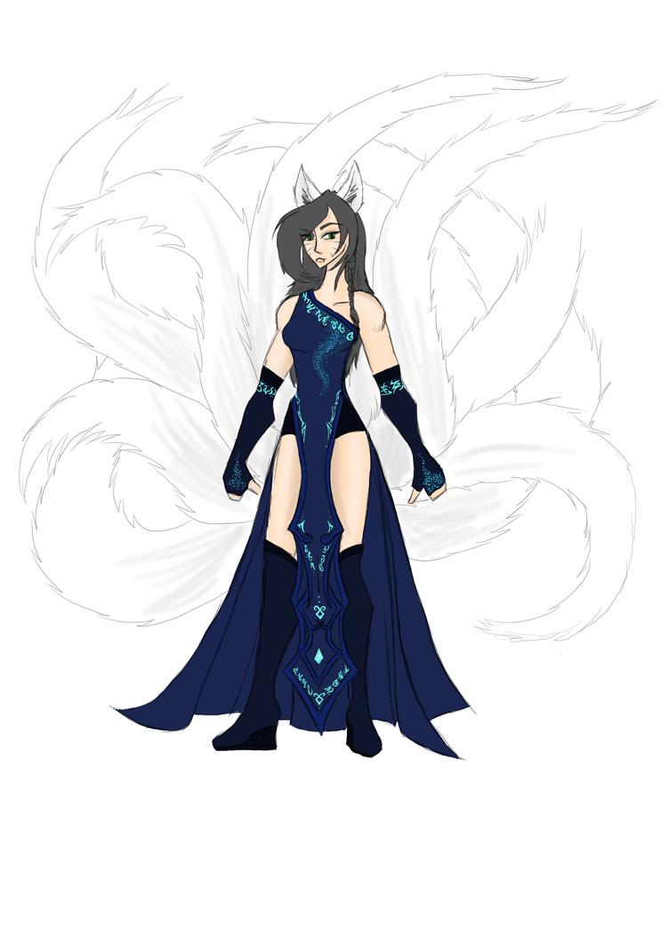 Ahri fanskin design by Blackbiene