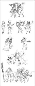 chibi fan art sketch dump WIP