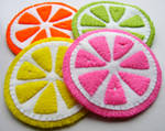 Kawaii bright coloured Citrus Coasters - Set of 4