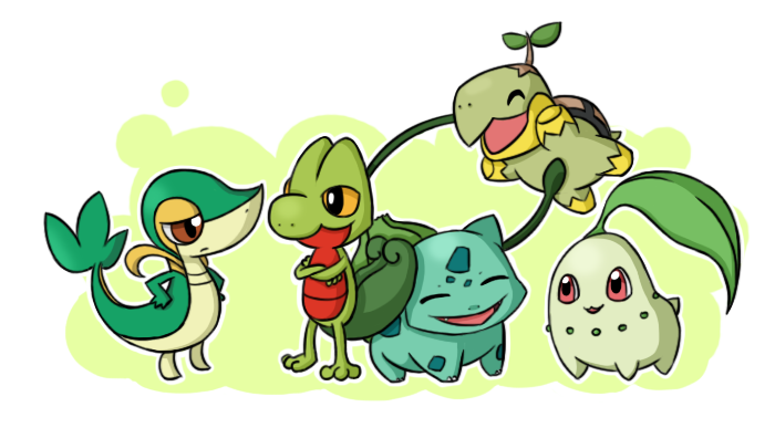 Pokemon Grass Starters by ChibiTigre on DeviantArt