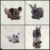 Chinchilla, Bunny Rabbit and Rat Plushies by ChibiTigre