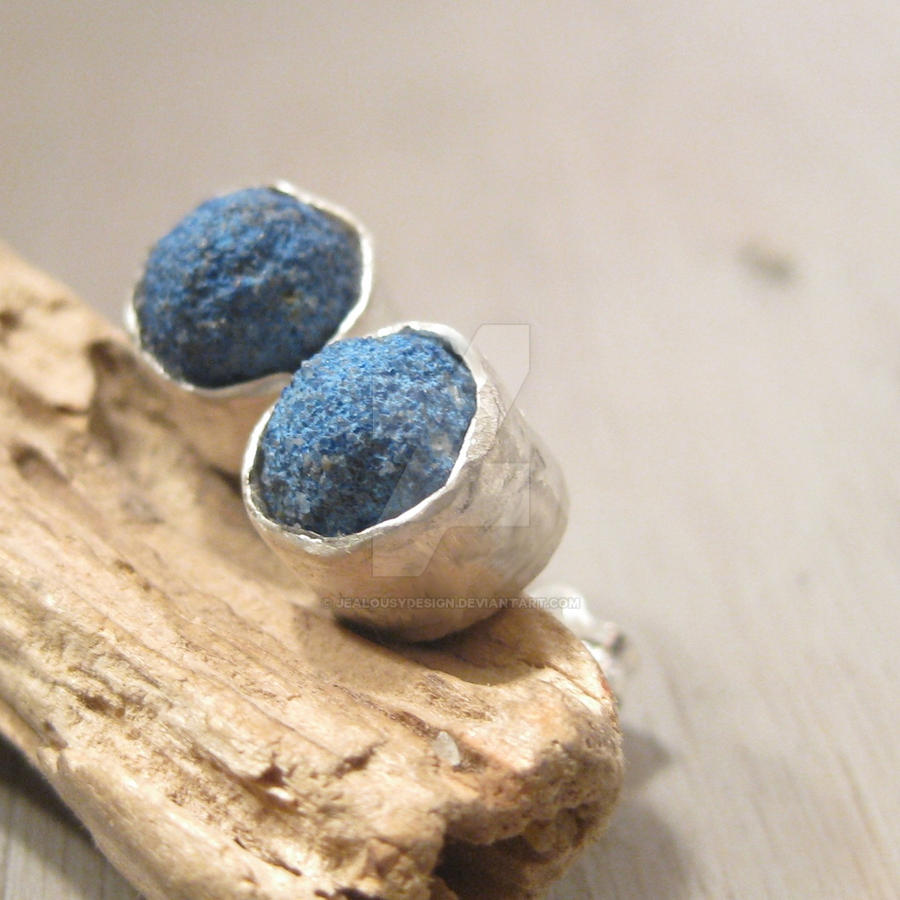 Blue Azurite studs by Jealousydesign