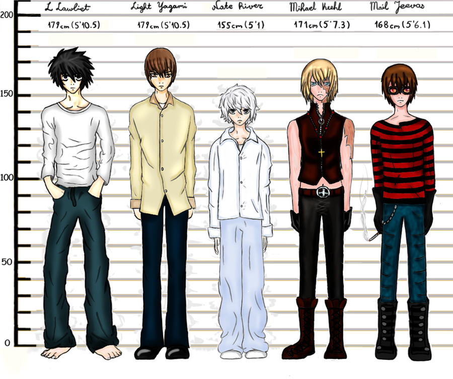 Anime Characters Over 6 Feet Tall : Death note height comparison by nina lee on deviantart