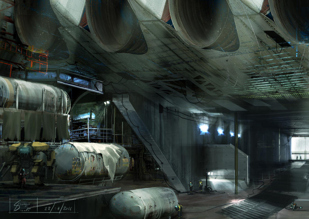 Spaceship construction site by Kawassass00