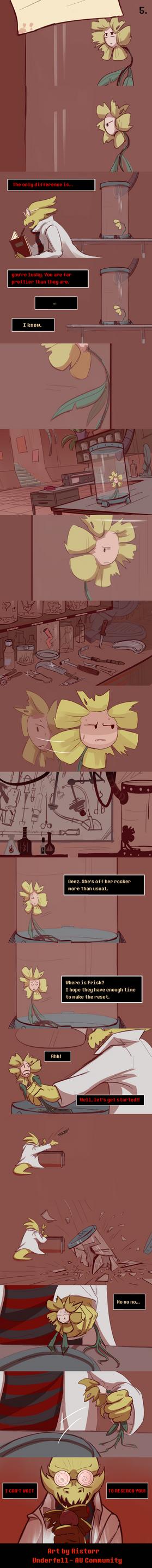 Underfell - Frisk in Alphys's true lab (5) by Ristorr on