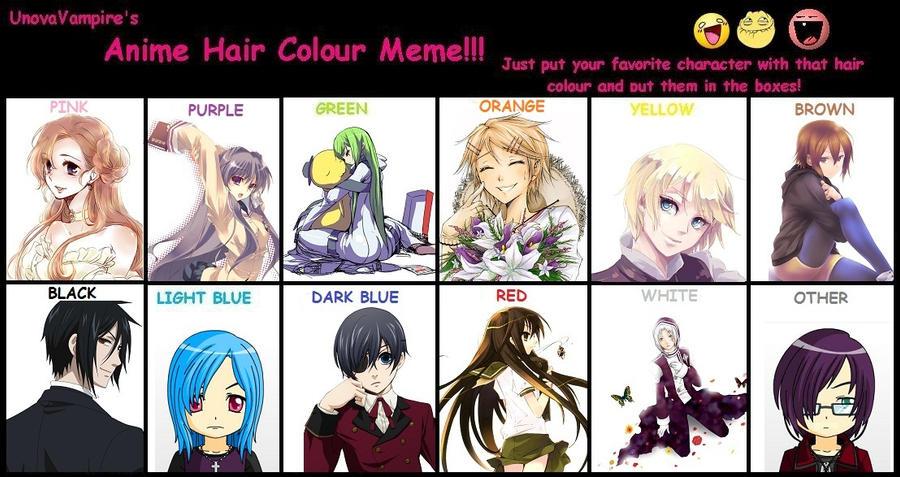 Anime Hair Colour Meme By Iammastershin On Deviantart